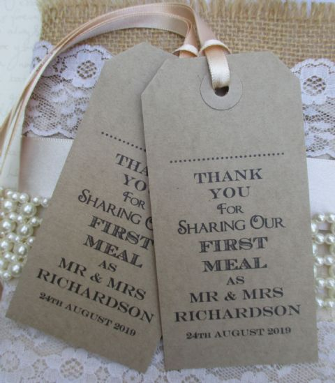 10 Thank You for Sharing Our First Meal as Mr & Mrs Personalised Name Place Cards Napkin Ties (1)